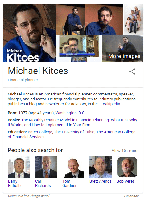 Knowledge Graph Result for Financial Advisor Michael Kitces | Part of Advisor SEO
