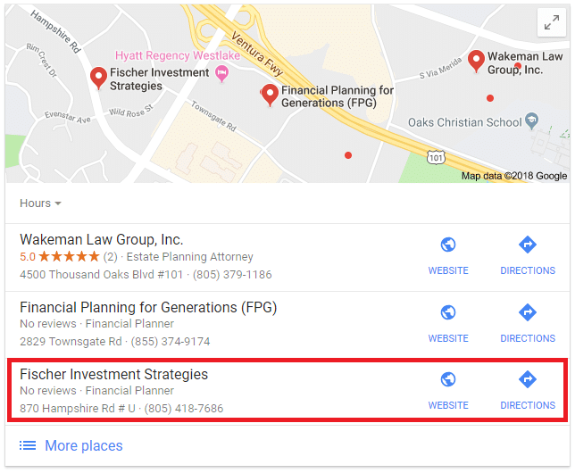 Advisor SEO Results: Financial Planning, Westlake CA
