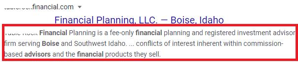 Financial Services Meta Description tag