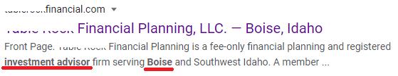 Meta Description showing financial planning keywords