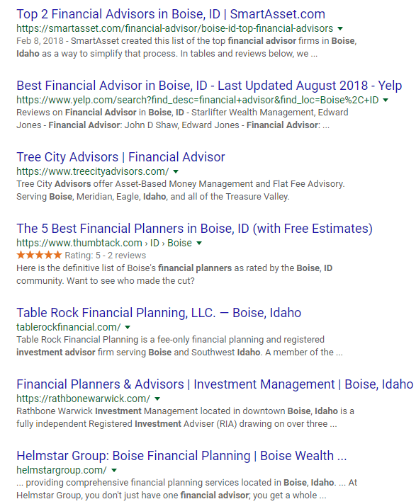 Organic SEO for Advisors