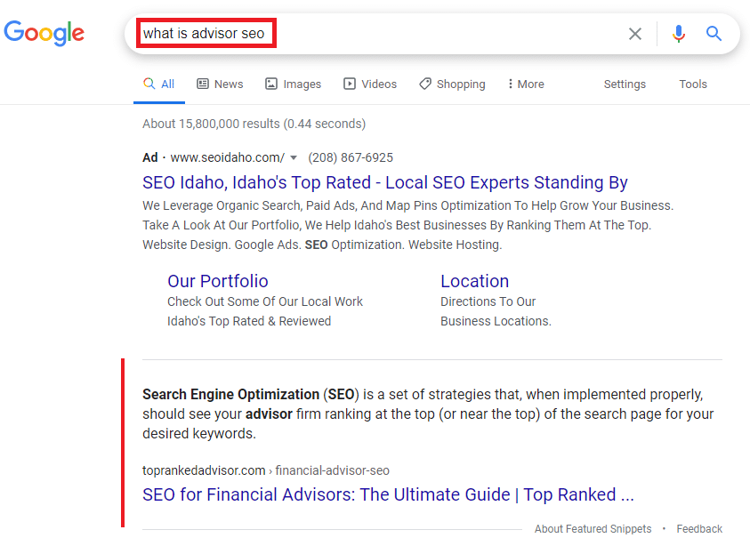 featured snippet for What is Advisor SEO